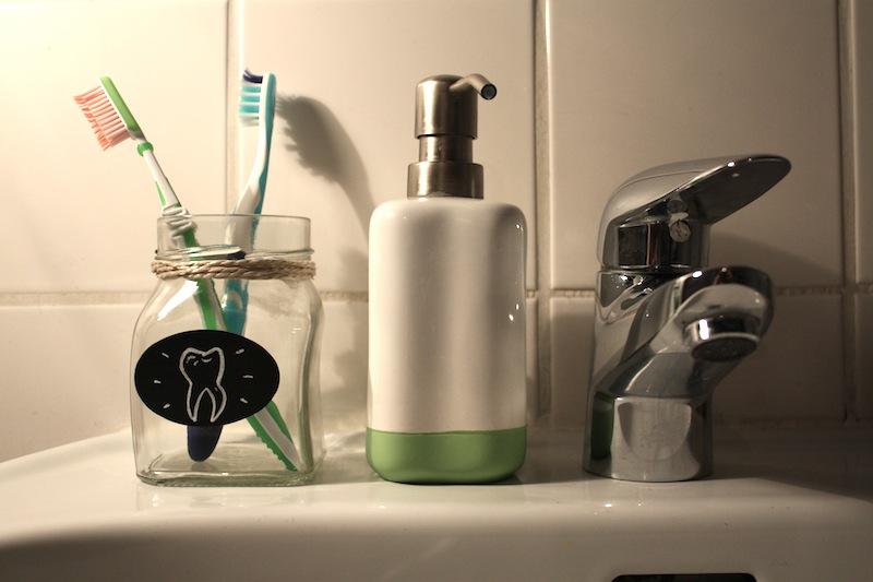 Glas als Zahnbürstenbecher - www.craftifair.com