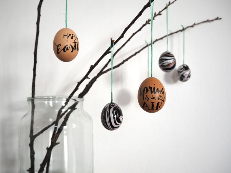 DIY Ostereier >> marmoriert und kalligrafiert + Video