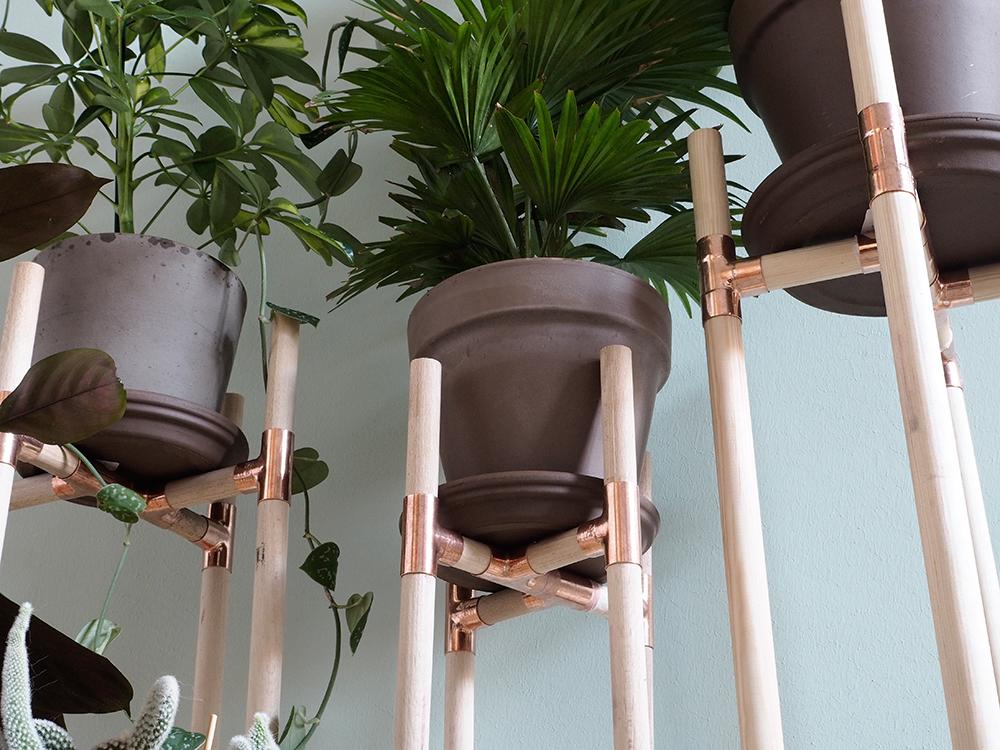 dschungel f r zuhause diy pflanzenst nder aus kupfer und holz craftifair. Black Bedroom Furniture Sets. Home Design Ideas