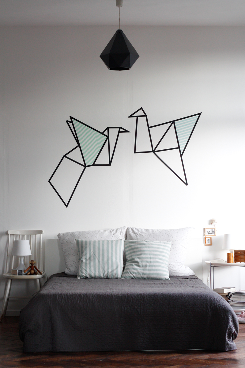 diy origami wallart with masking tape