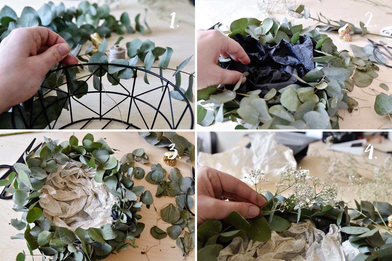 Modernes DIY Osterkörbchen mit Eukalyptus